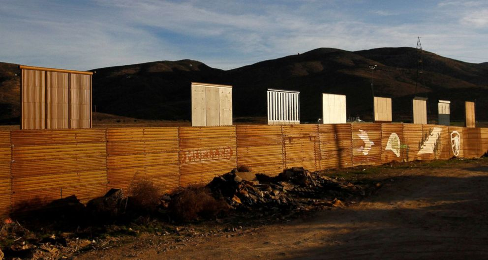PHOTO: Prototypes for the border wall with Mexico are seen behind the current border fence in Tijuana, Mexico, Jan. 27, 2018.