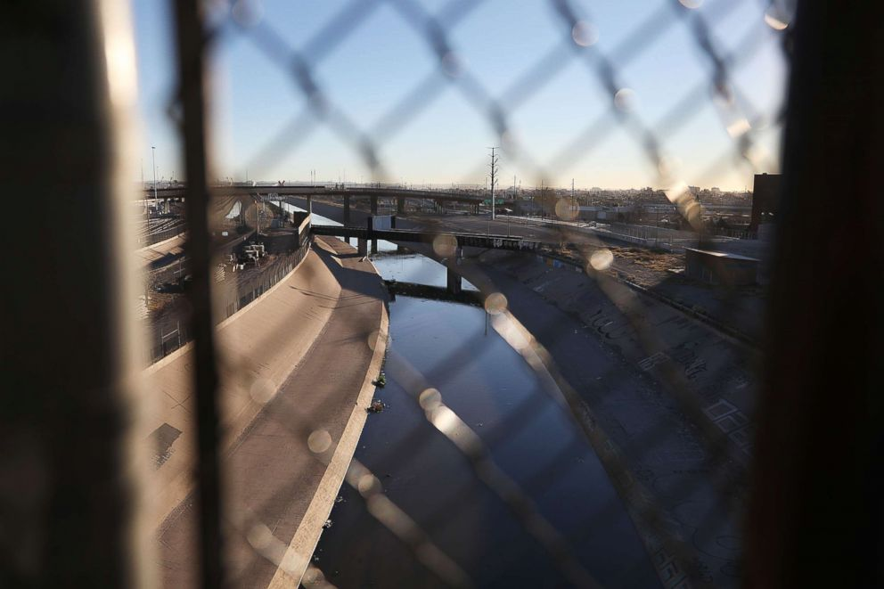 PHOTO: The Rio Grande river is seen under the Paso Del Norte Port of Entry bridge which connects the United States and Mexico, Jan. 19, 2019, in El Paso, Texas.