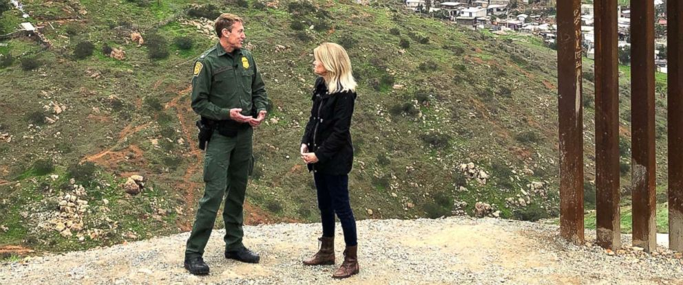 "PHOTO: ABC News Chief Global Affairs correspondent and ""This Week"" co-anchor Martha Raddatz speaks with Customs and Border Protection San Diego Sector Border Patrol Chief Rodney Scott."