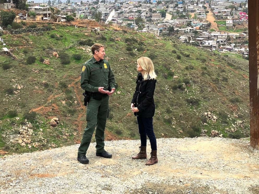 PHOTO: ABC News Chief Global Affairs correspondent and This Week co-anchor Martha Raddatz speaks with Customs and Border Protection San Diego Sector Border Patrol Chief Rodney Scott.