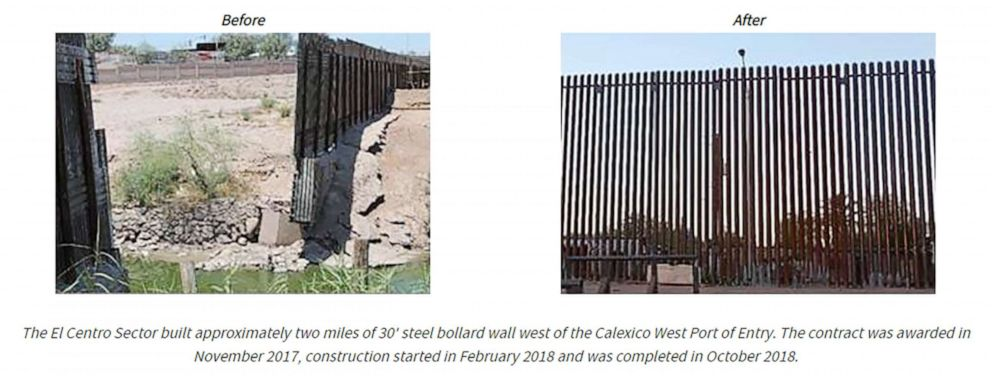 PHOTO: Homeland Security photos compare the original barrier (left) to the upgraded 30-foot steel-bollard wall.