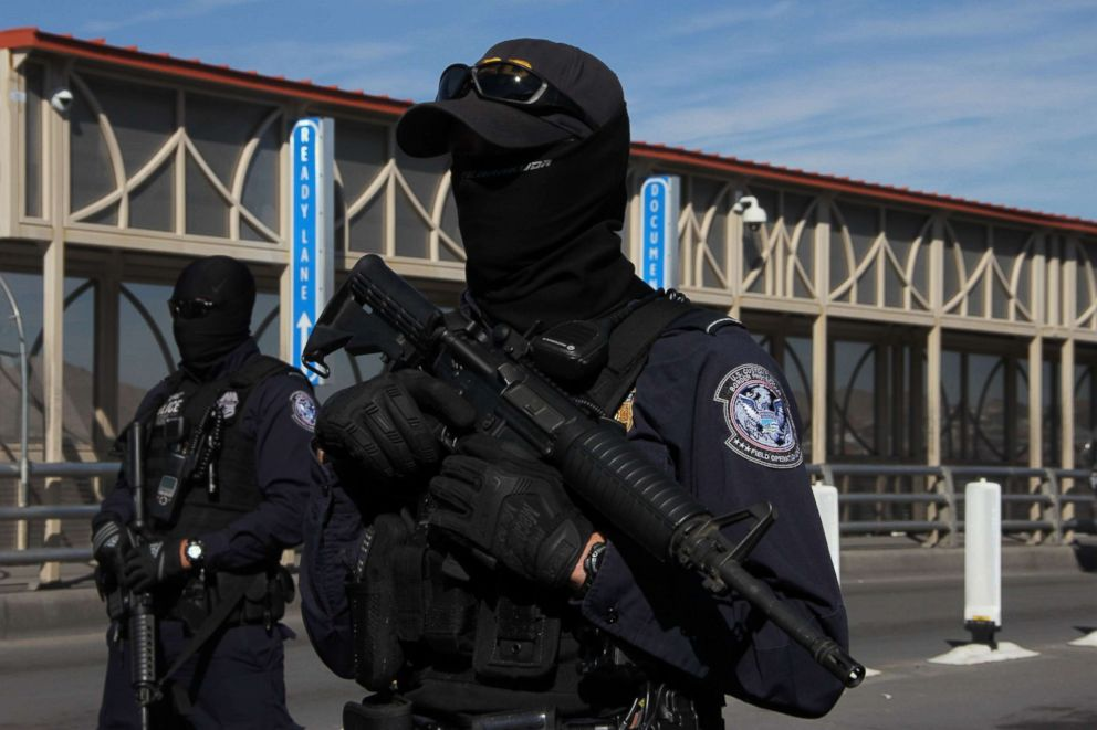 PHOTO: US customs and border patrol agents take part in a border security drill at the US-Mexico international bridge, as seen from Ciudad Juarez, Mexico, Oct. 29, 2018.