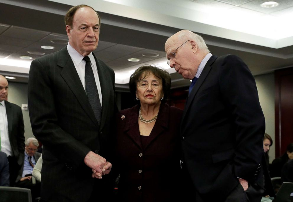 PHOTO: Senators Richard Shelby (R-AL) and Patrick Leahy (D-VT) talk with House Appropriations Committee Chair Rep. Nita Lowey (D-NY) on Capitol Hill, Jan. 30, 2019.