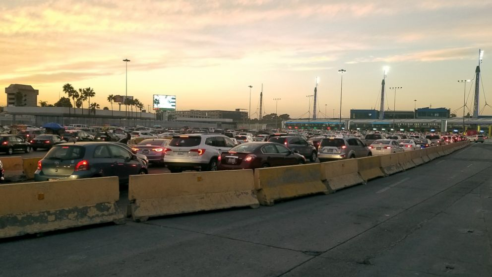 Lines of cars wait to enter the U.S. at the San Ysidro border crossing, Dec. 21, 2018.