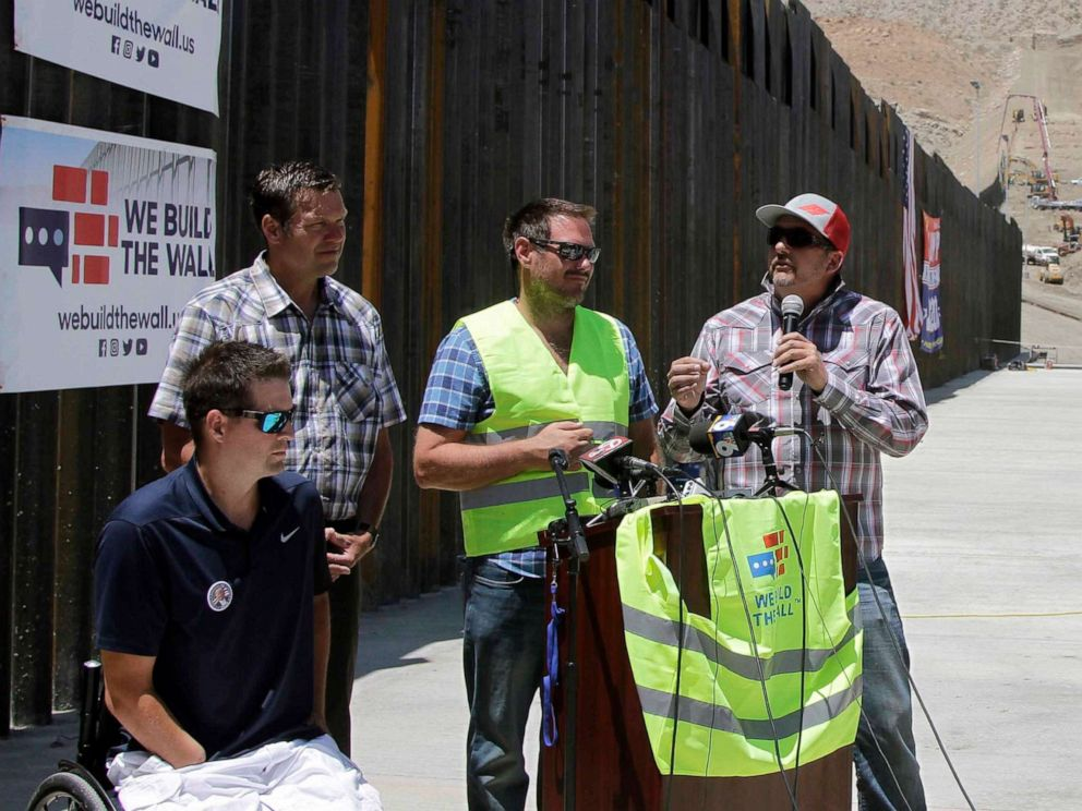 PHOTO: Leaders of We Build the Wall Inc. discuss plans for future barrier construction along the U.S.-Mexico border on May 30, 2019, in Sunland Park, N.M.