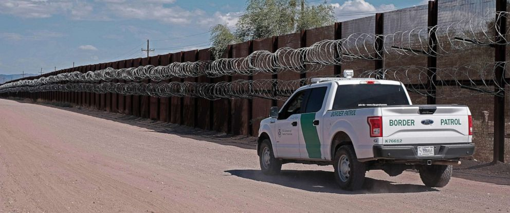 PHOTO: US Border Patrol along the border fence in Lukeville, Arizona, August 19, 2019. This two mile portion of the fence will be torn down starting this week and replaced by 30 foot tall steel Bollard wall.