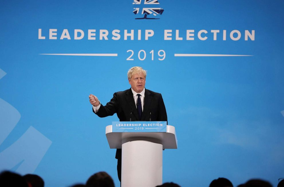 PHOTO: Boris Johnson talks at the final hustings of the Conservative leadership campaign at ExCeL London on July 17, 2019 in London, England.