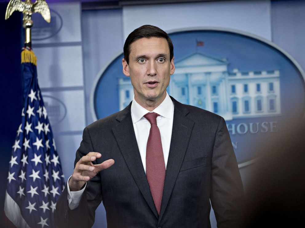 PHOTO: FILE: Tom Bossert, assistant to U.S. President Donald Trump for the U.S. Department of Homeland Security, speaks during a White House press briefing in Washington, D.C., U.S., on Friday, Sept. 8, 2017.
