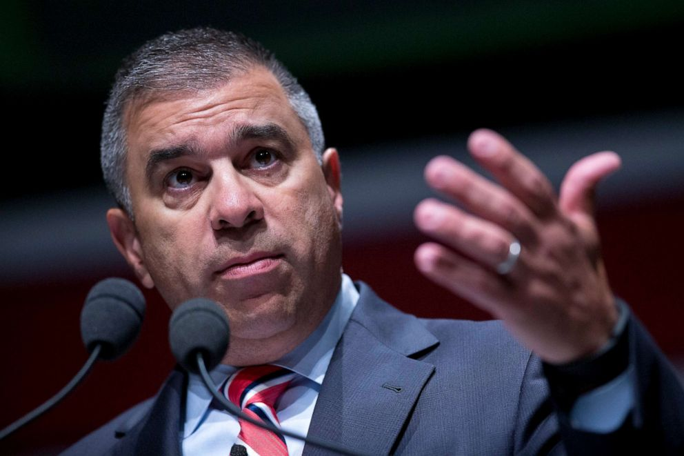 PHOTO: David Bossie, president of Citizens United, gestures during South Carolina Freedom Summit hosted by Citizens United and Congressman Jeff Duncan in Greenville, S.C., May 9, 2015.