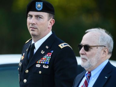 PHOTO: Sgt. Bowe Bergdahls military attorney, Lt. Col. Franklin Rosenblatt, and his civilian attorney, Eugene Fidell, arrive at the Fort Bragg courthouse for a sentencing hearing on Wednesday, Oct. 25, 2017, on Fort Bragg, N.C.