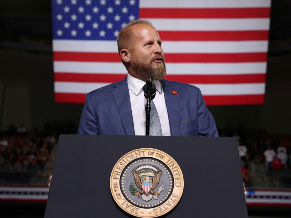 PHOTO: Trump 2020 campaign manager Brad Parscale addresses the crowd before U.S. President Donald Trump rallies with supporters in Manchester, N.H., Aug. 15, 2019.