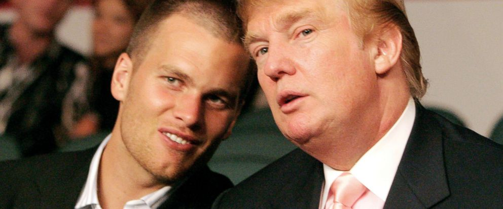 PHOTO: New England Patriots quarterback Tom Brady chats with Donald Trump at the WBC Lightweight Title Fight, June 25, 2005.