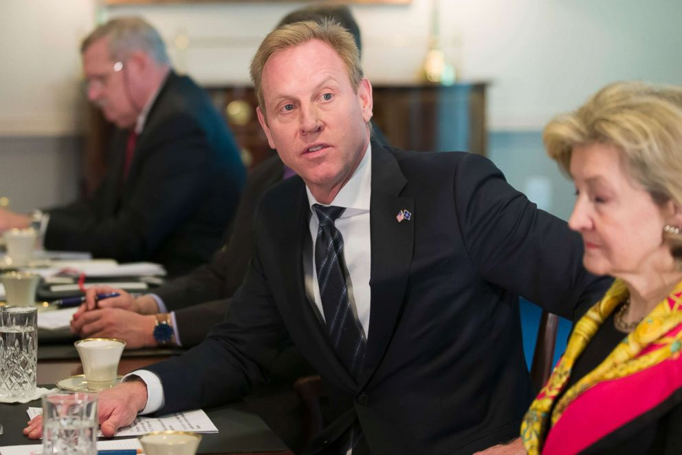 PHOTO: Acting Defense Secretary Patrick Shanahan answers a question from the media during a meeting with NATO Secretary General Jens Stoltenberg at the Pentagon, Jan. 28, 2019.
