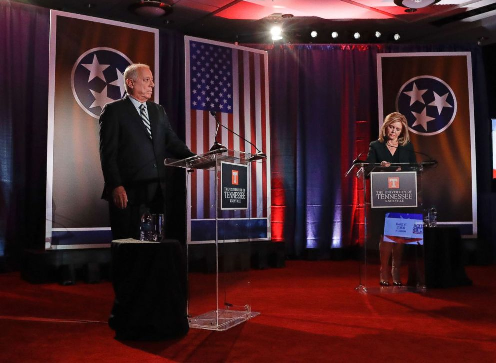 PHOTO: Democratic candidate and former Gov. Phil Bredesen and Republican Rep. Marsha Blackburn wait for the start of the Tennessee U.S. Senate debate at The University of Tennessee, Oct. 10, 2018, in in Knoxville, Tenn.