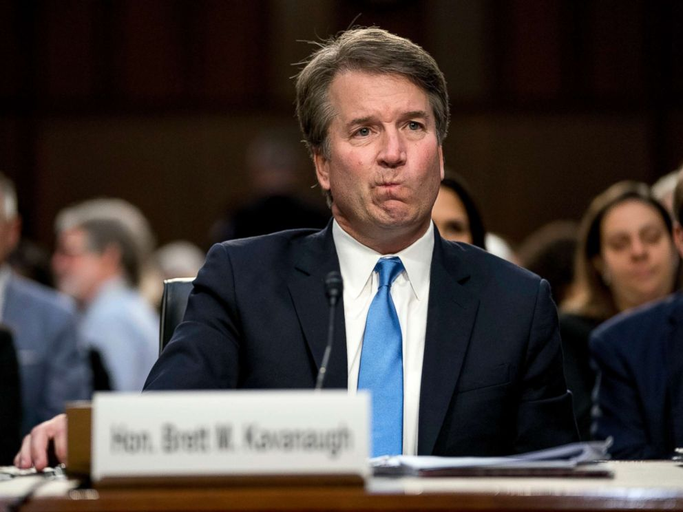 PHOTO: Supreme Court nominee Brett Kavanaugh reacts as he testifies before the Senate Judiciary Committee on Capitol Hill in Washington, Sept. 5, 2018.