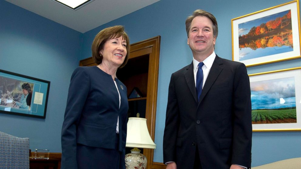 Sen. Susan Collins, R-Maine, meets with Supreme Court nominee Judge Brett Kavanaugh at her office, before a private meeting on Capitol Hill in Washington, Aug. 21, 2018.