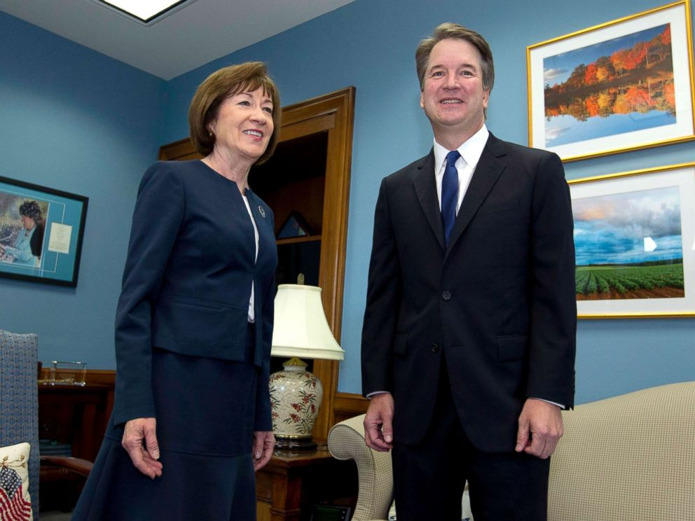 PHOTO: Sen. Susan Collins, R-Maine, meets with Supreme Court nominee Judge Brett Kavanaugh at her office, before a private meeting on Capitol Hill in Washington, Aug. 21, 2018.