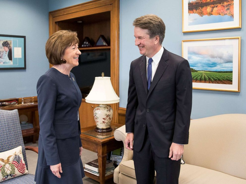 PHOTO: Supreme Court nominee Brett Kavanaugh meets with U.S. Senator Susan Collins on capitol hill in Washington, Aug. 21, 2018.