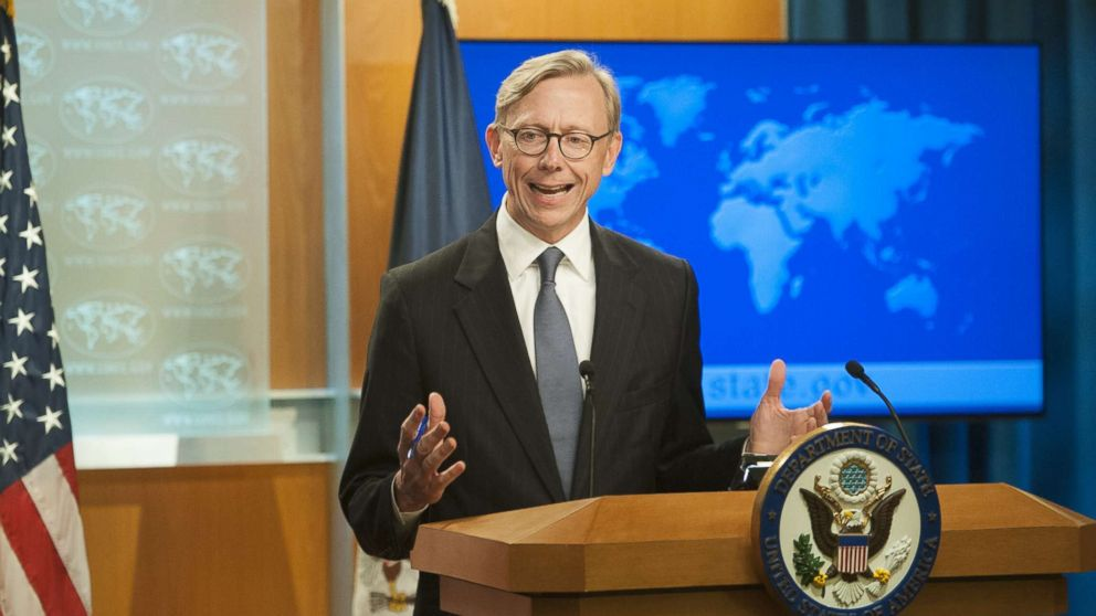 Director of Policy Planning Brian Hook fields questions from journalists during the announcement of the creation of the Iran Action Group at the Department of State on Aug. 16, 2018 in Washington.