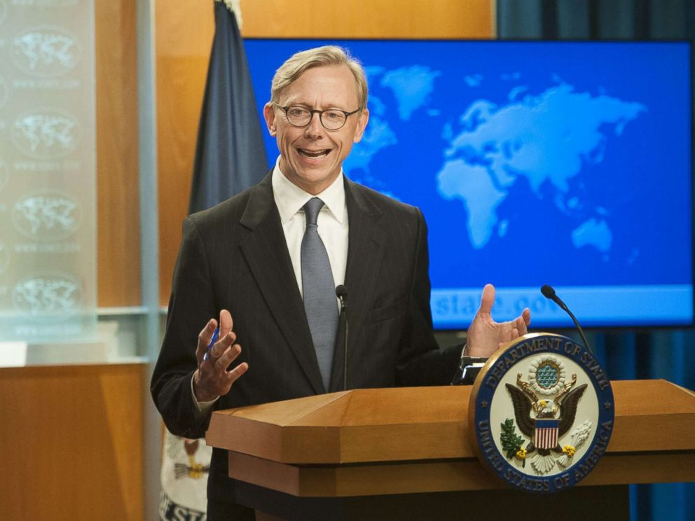 PHOTO: Director of Policy Planning Brian Hook fields questions from journalists during the announcement of the creation of the Iran Action Group at the Department of State on Aug. 16, 2018 in Washington.