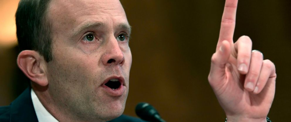 In this Oct. 31, 2017 file photo, Federal Emergency Management Agency Administrator Brock Long testifies before the Senate Governmental Affairs Committee on Capitol Hill in Washington, during a hearing on the federal response to the 2017 hurricane season