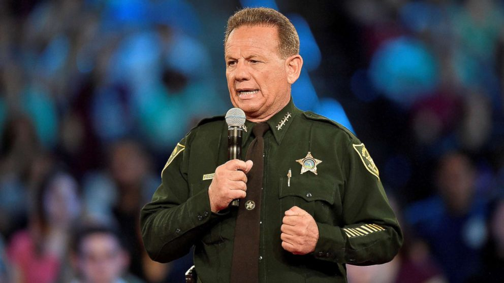 Broward County Sheriff Scott Israel speaks before the start of a CNN town hall meeting at the BB&T Center in Sunrise, Fla., Feb. 21, 2018.