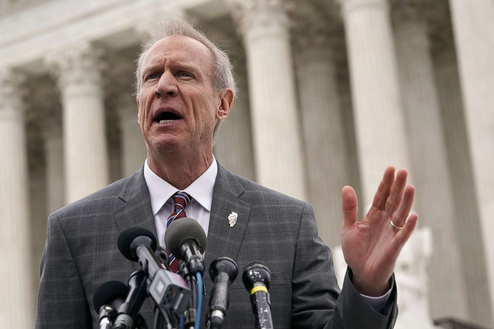 PHOTO: Governor of Illinois Bruce Rauner speaks to members of the media in front of the U.S. Supreme Court after a hearing, Feb. 26, 2018, in Washington.