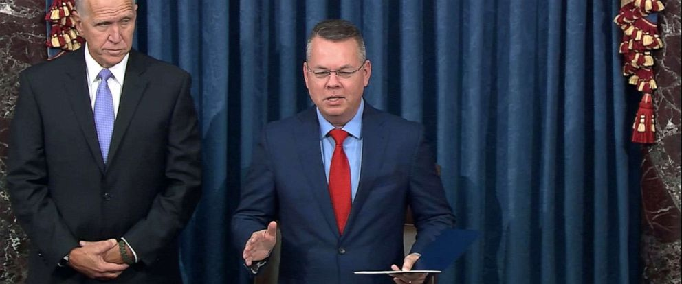 PHOTO: Pastor Andrew Brunson gives the opening prayer from the Senate floor, Oct. 15, 2019, in Washington, D.C. Brunson was released from a Turkish prison in 2018 after nearly two years in detention.
