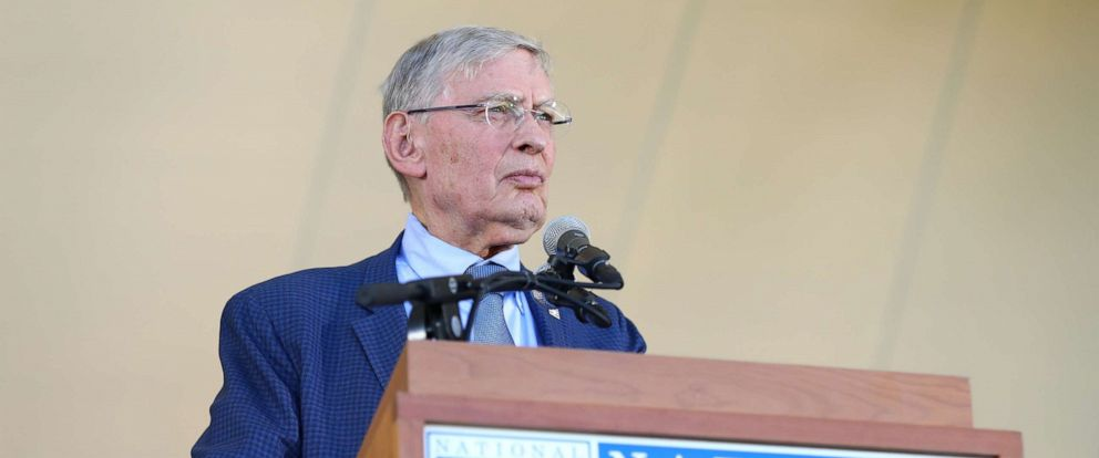 """PHOTO: In this file photo, inductee Commissioner Emeritus Allan H. """"Bud"""" Selig speaks during the 2017 Hall of Fame Induction Ceremony at the National Baseball Hall of Fame on July 30, 2017, in Cooperstown, New York."""