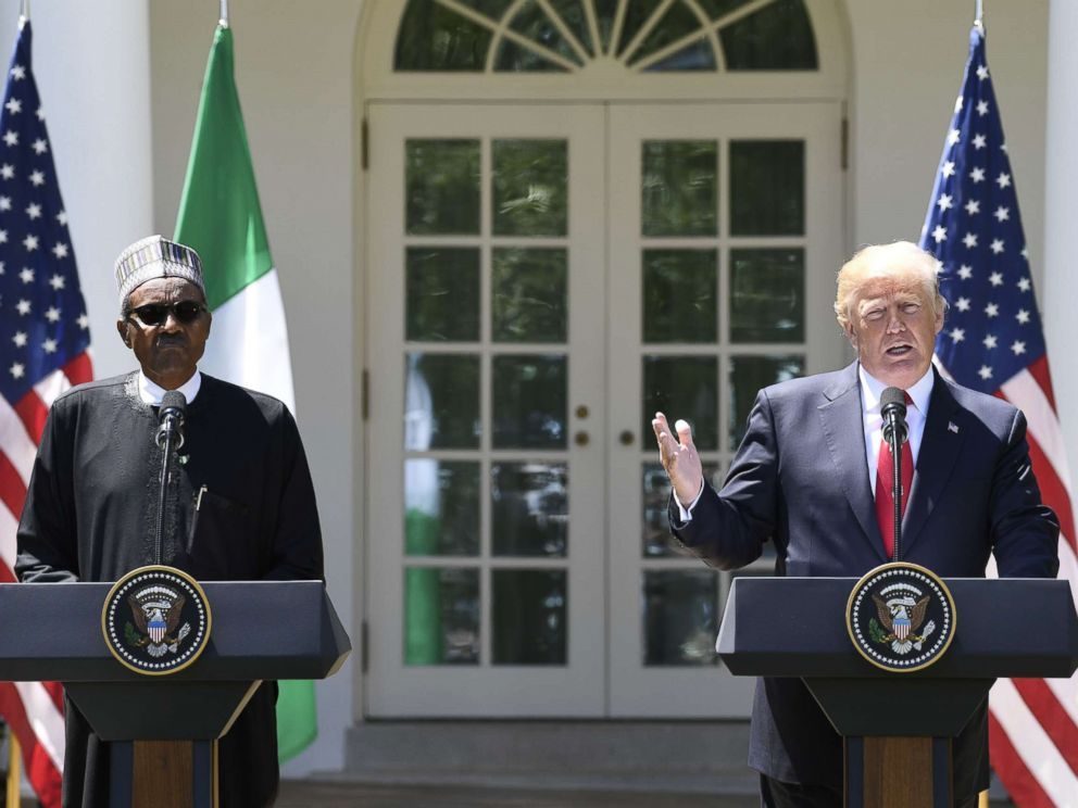 PHOTO: Nigerias President Muhammadu Buhari and President Donald Trump hold a joint press conference in the Rose Garden at the White House in Washington, April 30, 2018.