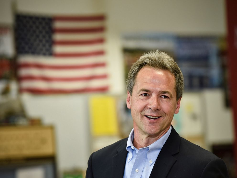 PHOTO: Montana Gov. Steve Bullock, Democratic presidential candidate, officially announces his campaign for president, May 14, 2019, at Helena High School in Helena, Mont.
