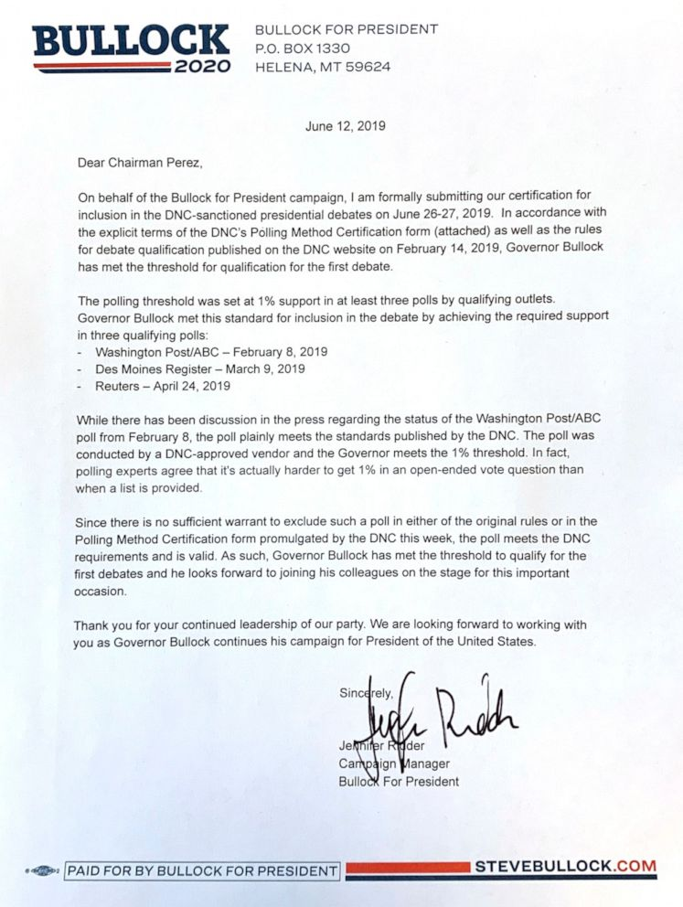 PHOTO: 2020 candidate Steve Bullocks campaign manager Jennifer Ridder wrote a letter the the DNC Wednesday night demanding that Bullock be allowed on the debate stage in June.