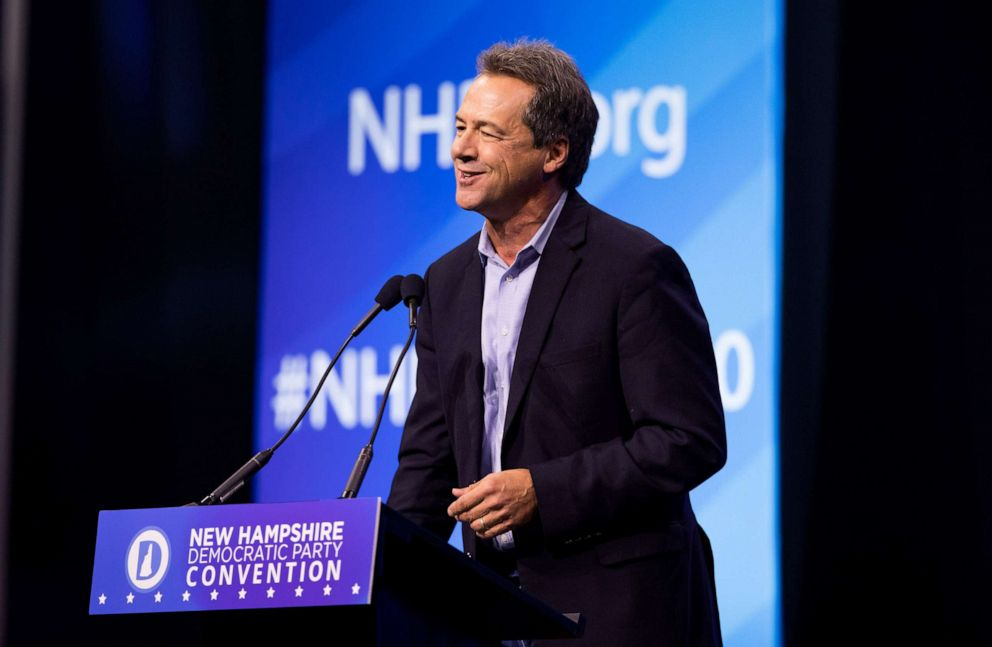 PHOTO: Democratic presidential candidate and Montana Governor Steve Bullock speaks during the New Hampshire Democratic Party Convention, Sept. 7, 2019 in Manchester, N.H.