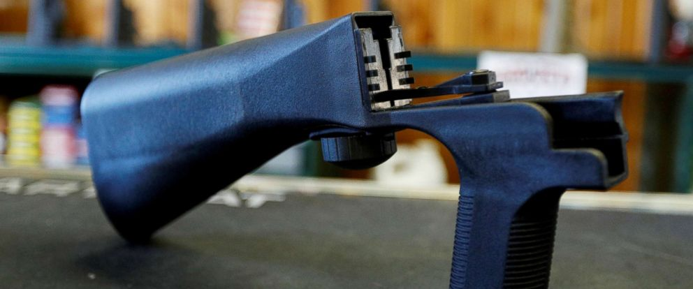 PHOTO: A bump fire stock that attaches to a semi-automatic rifle to increase the firing rate is seen at Good Guys Gun Shop in Orem, Utah, Oct. 4, 2017.
