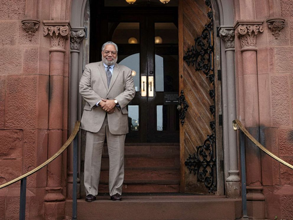PHOTO: Secretary-elect Lonnie G. Bunch stands at the East Door of the Smithsonian Castle, May 28, 2019.