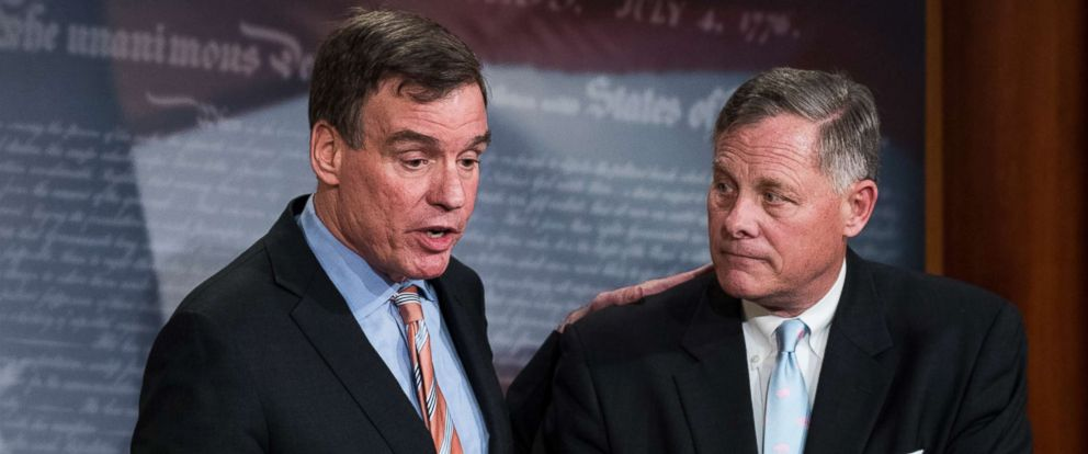 PHOTO: Mark Warner and Richard Burr hold a news conference in the Capitol, March 29, 2017.