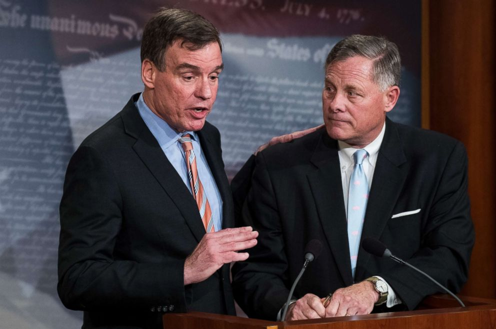 Mark Warner and Richard Burr hold a news conference in the Capitol, March 29, 2017.