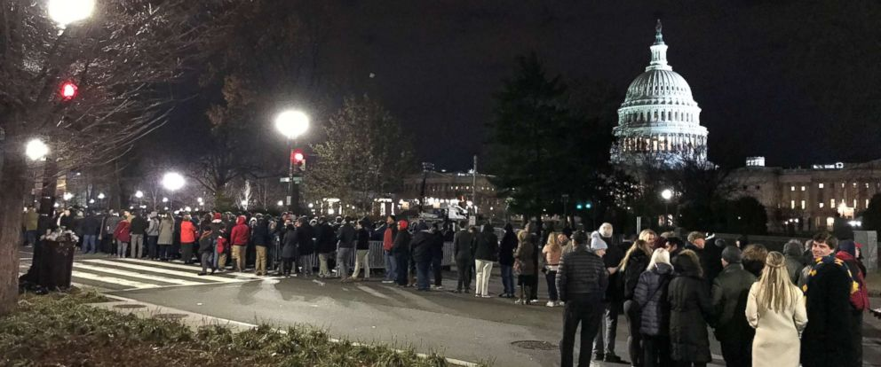 PHOTO: Thousands remained lined up at 12:30 a.m. in 35-degree weather to see President George H.W. Bush lie in state in the Capitol Rotunda on Wednesday, Dec. 5, 2018.