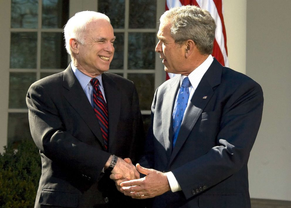 PHOTO: Republican presidential candidate John McCain shakes hands with President George W. Bush after receiving his endorsement in the Rose Garden of the White House,March 5, 2008.