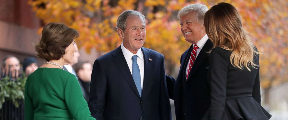 PHOTO: Former first lady Laura Bush and former President George W. Bush greet President Donald Trump and first lady Melania Trump outside of Blair House, Dec. 04, 2018 in Washington.