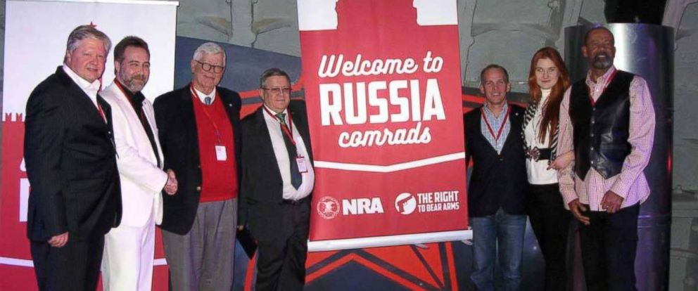 "PHOTO: In a December 2015 Facebook post, a Russian gun-rights enthusiast praised ""the American approach to regulating weapons"" and shared a photo showing high-ranking NRA members posing alongside Alexander Torshin, 4th-L, and Maria Butina, 2nd-R."