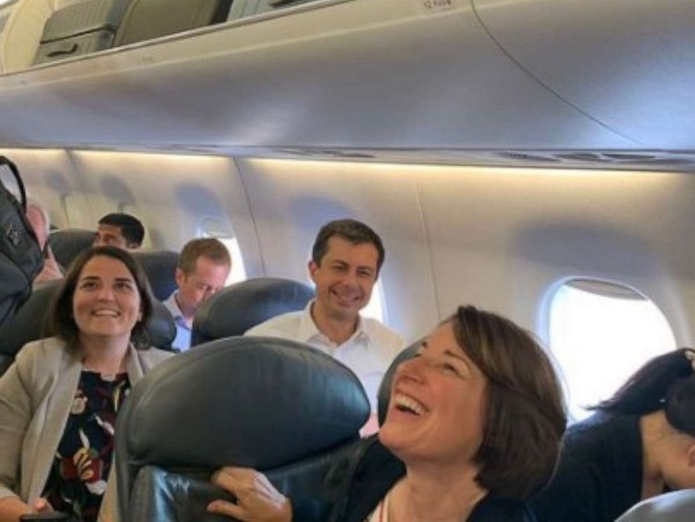 PHOTO: Presidential candidates Mayor Pete Buttigieg and Senator Amy Klobuchar were seated near each other on a United Airlines flight, Sept. 10, 2019.