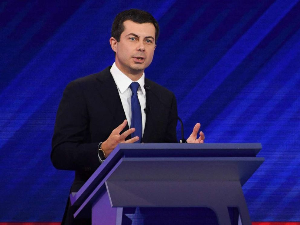 PHOTO: Democratic presidential Pete Buttigieg speaks during the third Democratic primary debate of the 2020 presidential campaign season at Texas Southern University in Houston, Texas, Sept. 12, 2019.