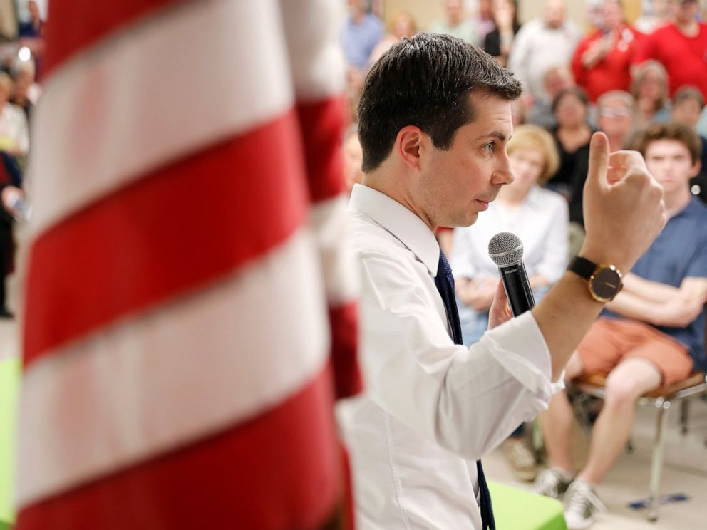 PHOTO: 2020 Democratic presidential candidate South Bend Mayor Pete Buttigieg speaks during a town hall meeting, Tuesday, April 16, 2019, in Fort Dodge, Iowa.