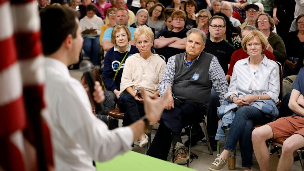 Audience members listen as 2020 Democratic presidential candidate South Bend Mayor Pete Buttigieg speaks during a town hall meeting, Tuesday, April 16, 2019, in Fort Dodge, Iowa.