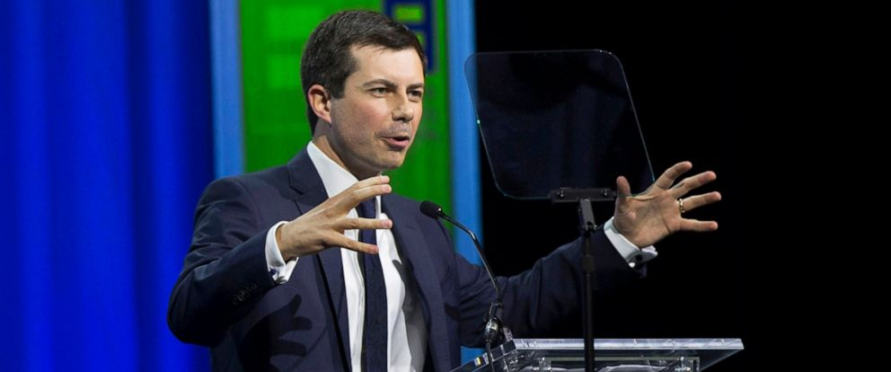 PHOTO: Democratic presidential candidate Pete Buttigieg speaks at the the Human Rights Campaigns 14th Annual Las Vegas Gala dinner on Saturday, May 11, 2019, at Caesars Palace, in Las Vegas.