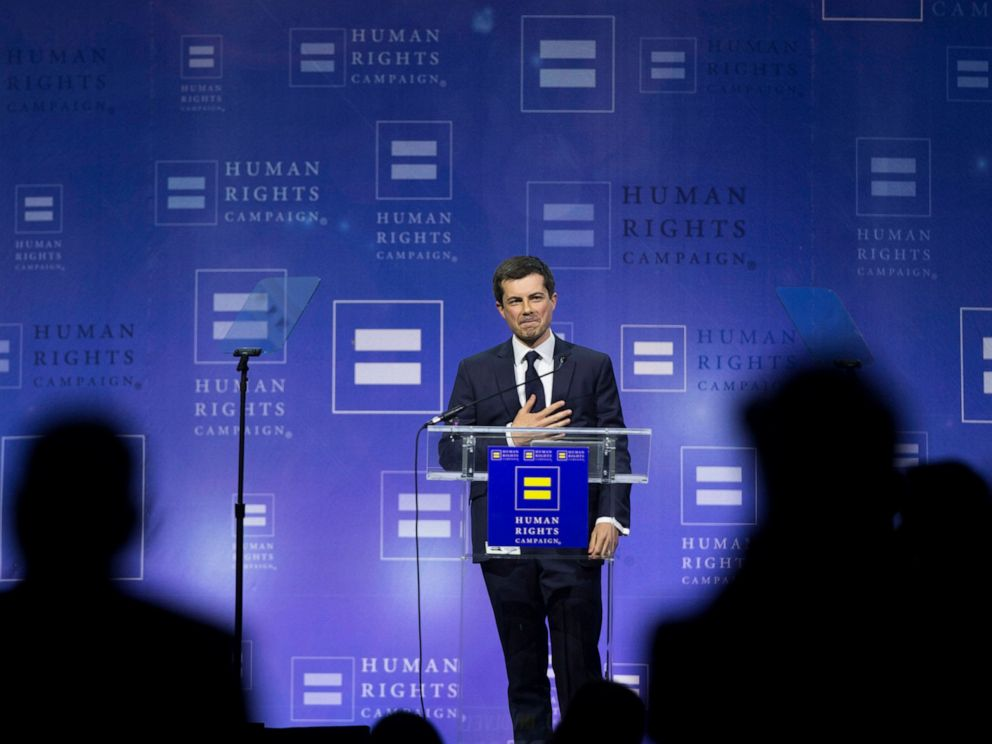 PHOTO: Democratic presidential candidate Pete Buttigieg thanks the crowd at the conclusion of his speech during the Human Rights Campaigns 14th Annual Las Vegas Gala dinner at Caesars Palace, on Saturday, May 11, 2019, in Las Vegas.