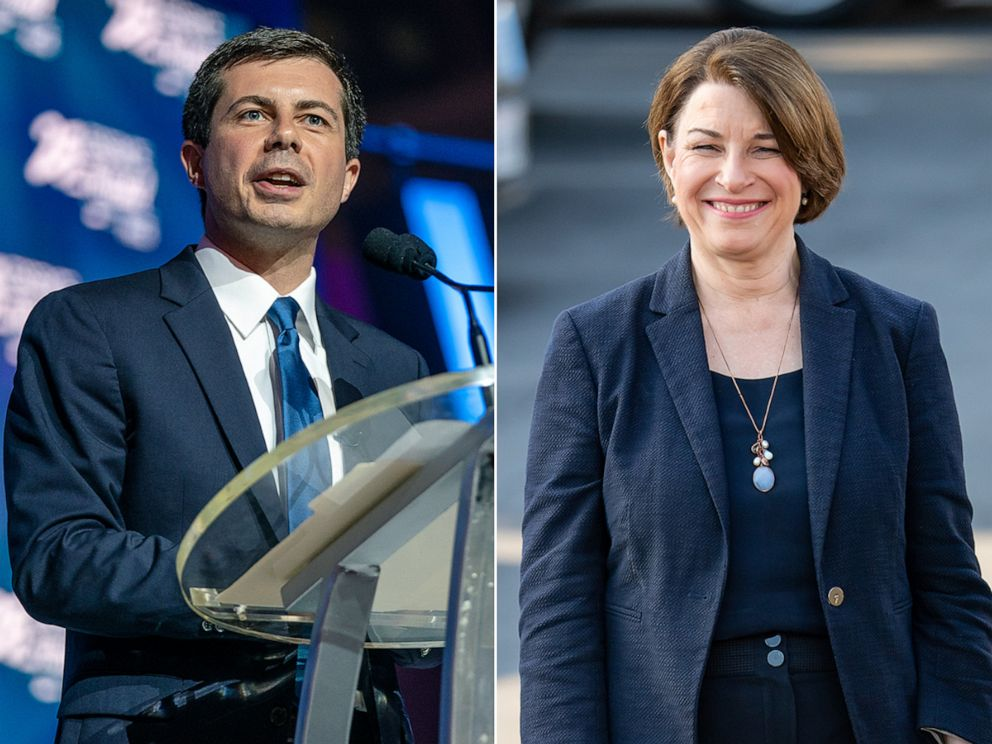 PHOTO: Mayor Pete Buttigieg speaks at the 25th Essence Festival, July 7, 2019, in New Orleans. Senator Amy Klobuchar is seen at Jimmy Kimmel Live on May 28, 2019 in Los Angeles.