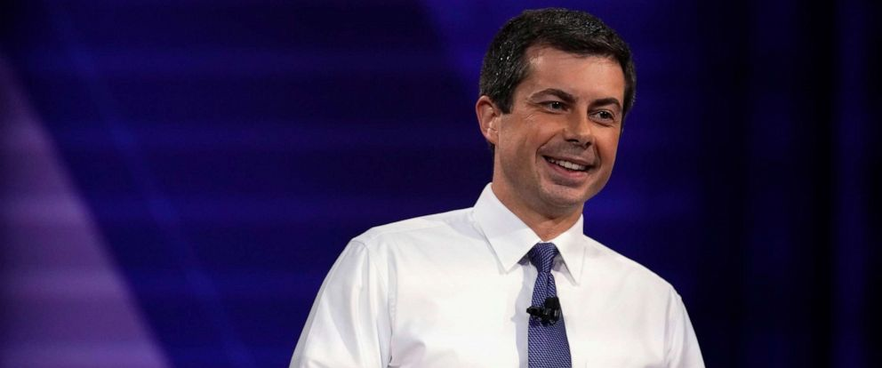 PHOTO: Democratic 2020 U.S. presidential candidate South Bend, Indiana, Mayor Pete Buttigieg participates in a televised town hall on CNN dedicated to LGBTQ issues in Los Angeles on Oct. 10, 2019.