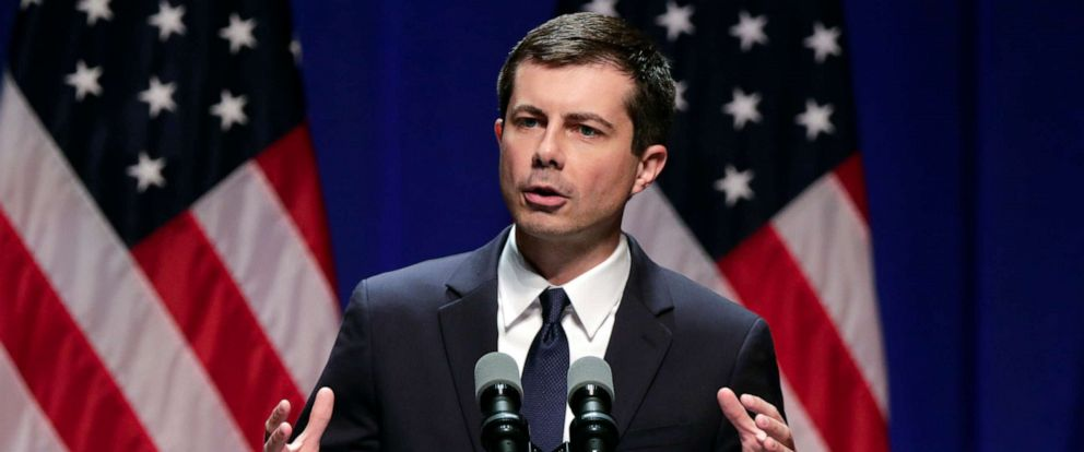 PHOTO: Democratic presidential candidate Mayor Pete Buttigieg delivers remarks on foreign policy and national security during a speech at the Indiana University Auditorium in Bloomington, Ind., June 11, 2019.